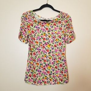 Anthropologie Postage Stamp Floral Pansy Shirt SzM